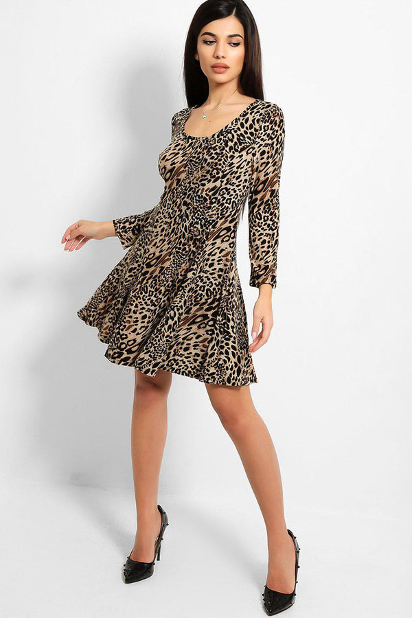 Brown Leopard Print A-line Mini Dress
