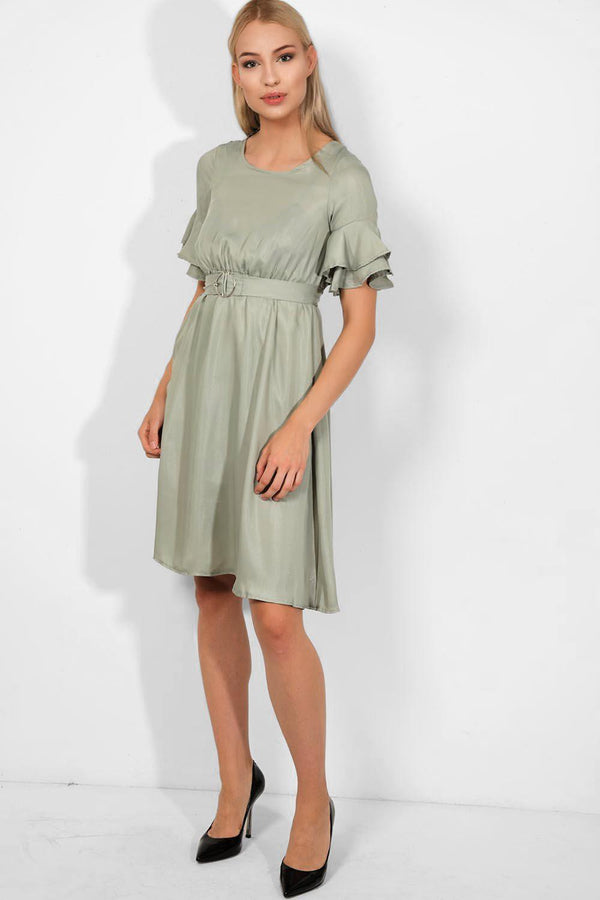 Pale Green Belted Empire Waist Midi Dress - SinglePrice