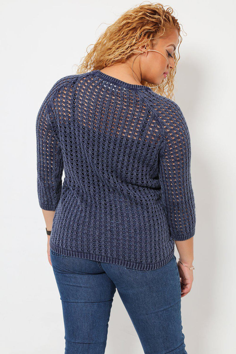 Perforated Knit Blue Jumper - SinglePrice