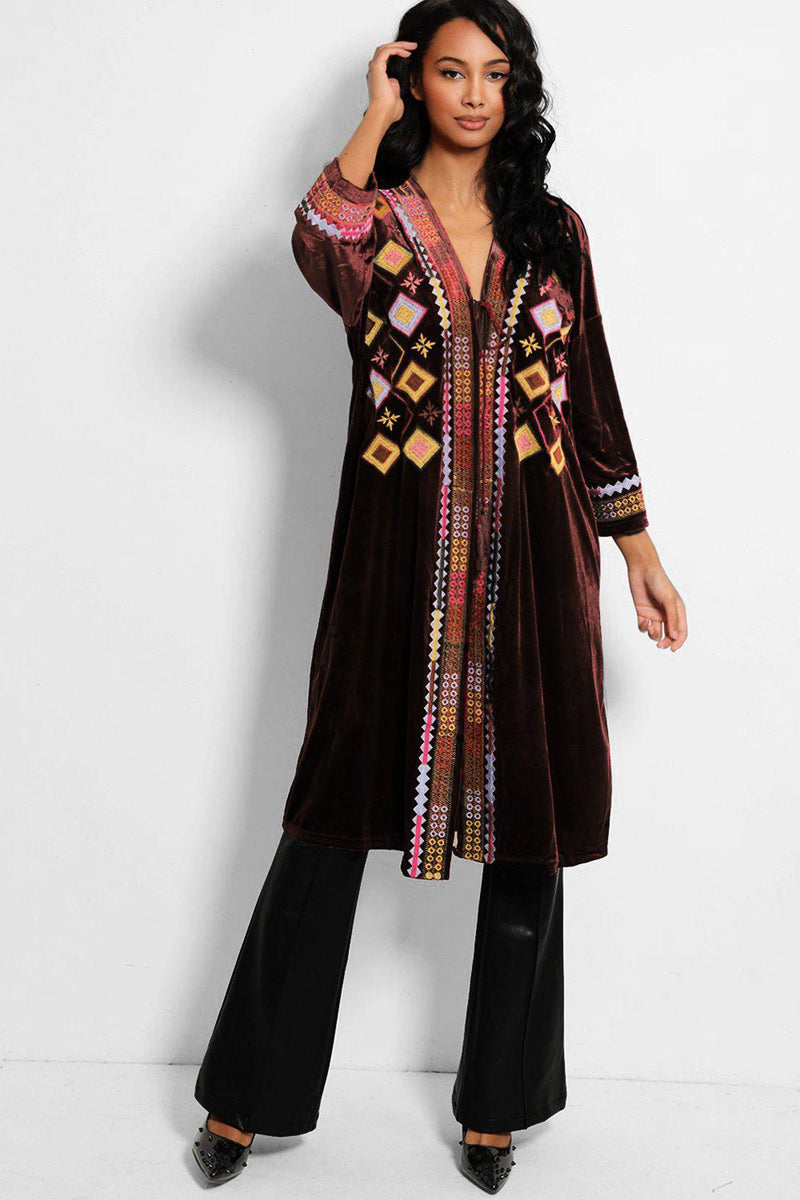 Brown Middle Eastern Embroidery Velvet Kaftan - SinglePrice