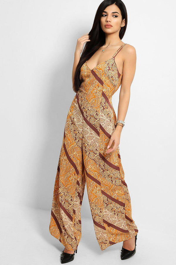 Mustard Brown Paisley Print Wide Leg Strappy Jumpsuit-SinglePrice