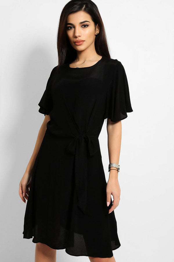 Black Front Tie-Up Detail A-Line Dress