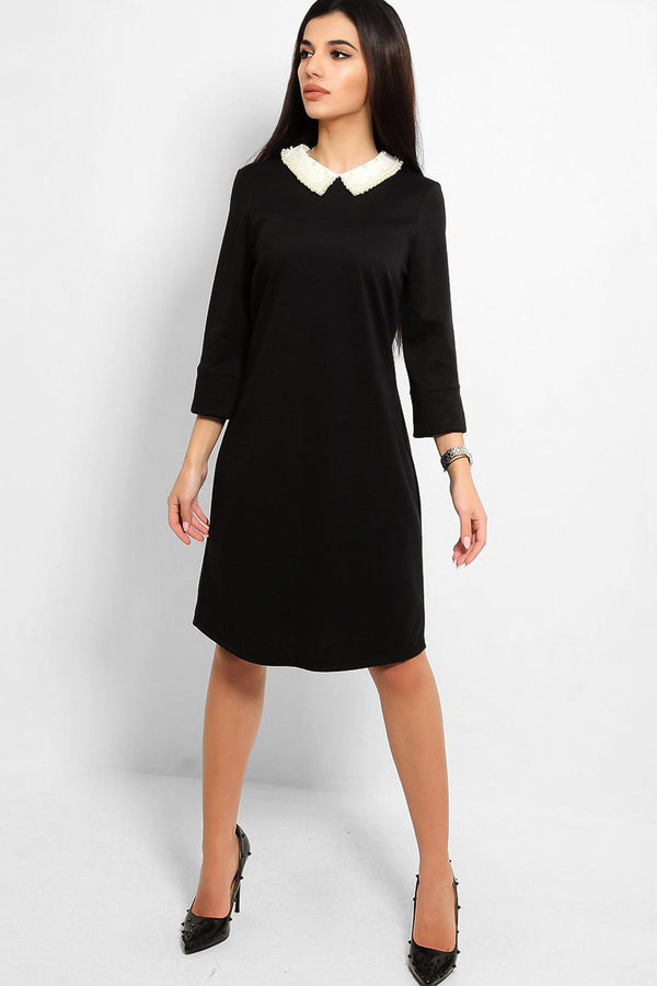 Black Pearls Embellished Peter Pan Collar Shift Dress
