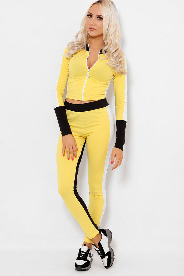 Yellow Colour Block High Neck 2 Piece Tracksuit - SinglePrice