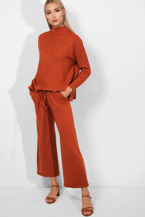 Brick Asymmetric Rib Knit Jumper And Wide Leg Trousers 2 Piece Lounge Set - SinglePrice