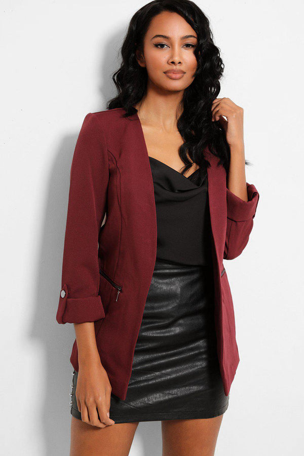 Wine Roll-Up Sleeves Open Front Blazer - SinglePrice