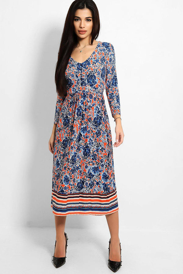 Blue Orange Floral Print V-Neck Midaxi Dress