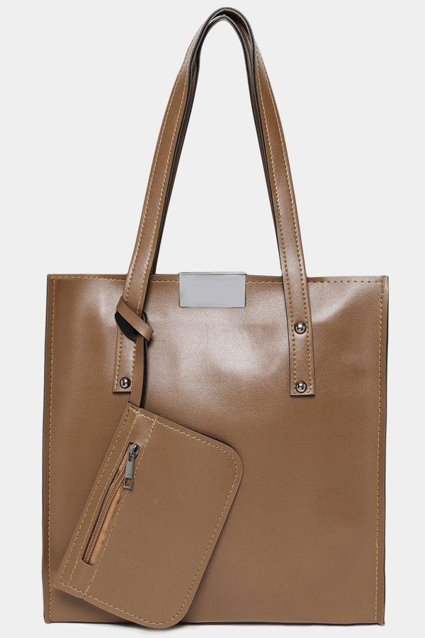 Taupe Vegan Leather Tall Tote Bag With Pouch-SinglePrice