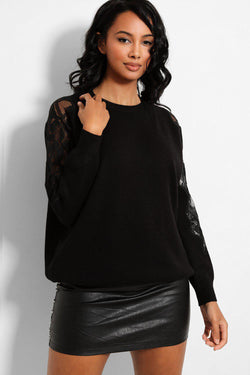 Black Delicate Lace Panel Sleeve Detail Soft Knit Pullover - SinglePrice