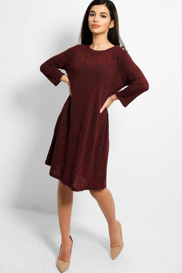 Burgundy Button Details Large Rib Stitch Knit Dress