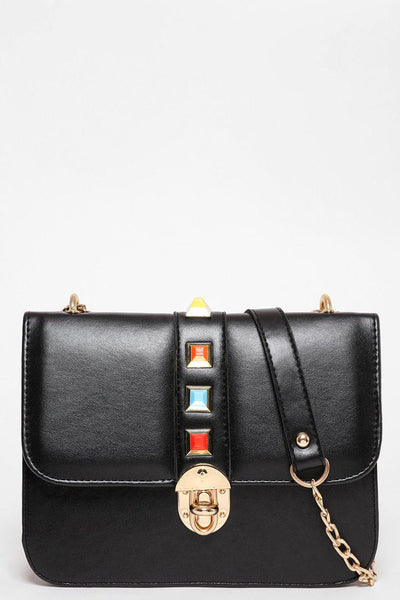 Gold Chain Strap Colourful Studs Black Handbag-SinglePrice