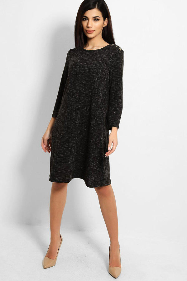 Ash Button Details Large Rib Stitch Knit Dress