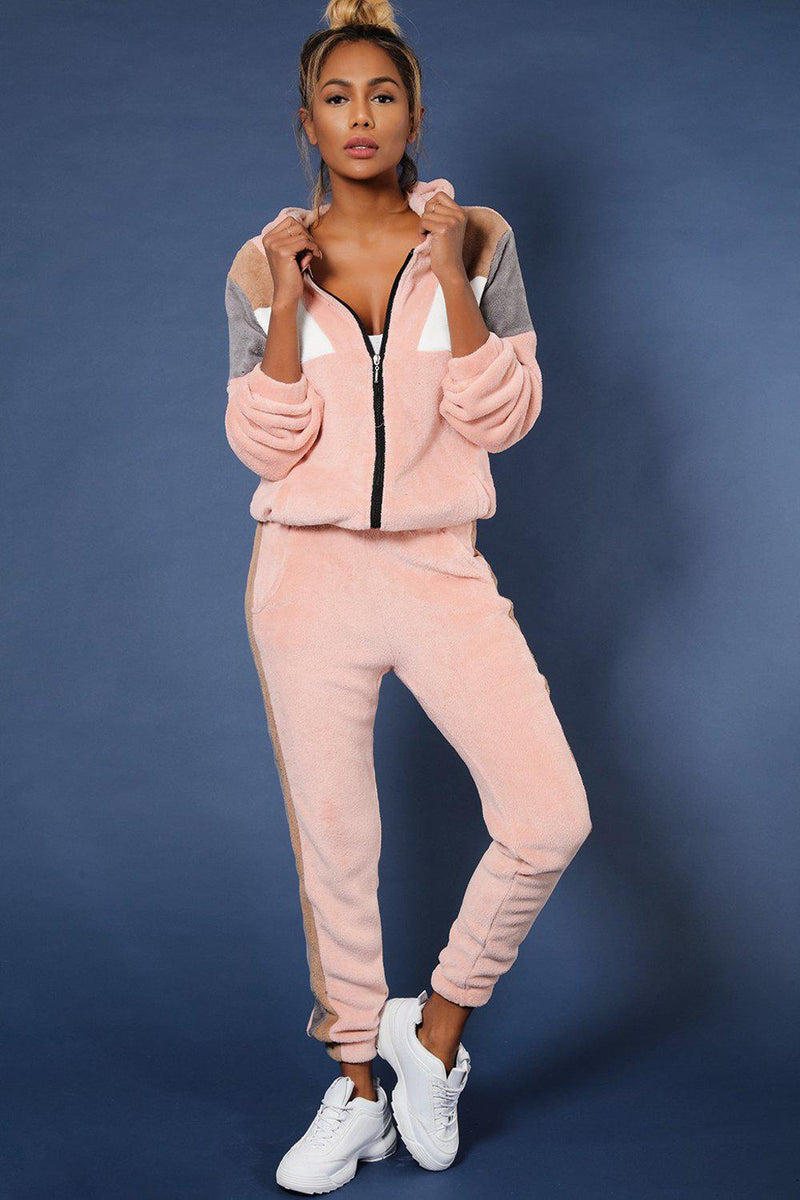 Pink Colour-Block Detail Fluffy Teddy Bear 2 Piece Tracksuit - SinglePrice