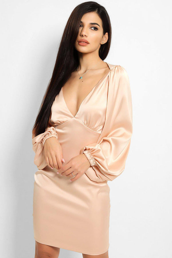Champagne Extreme Puff Sleeves Satin Deep Plunge Dress
