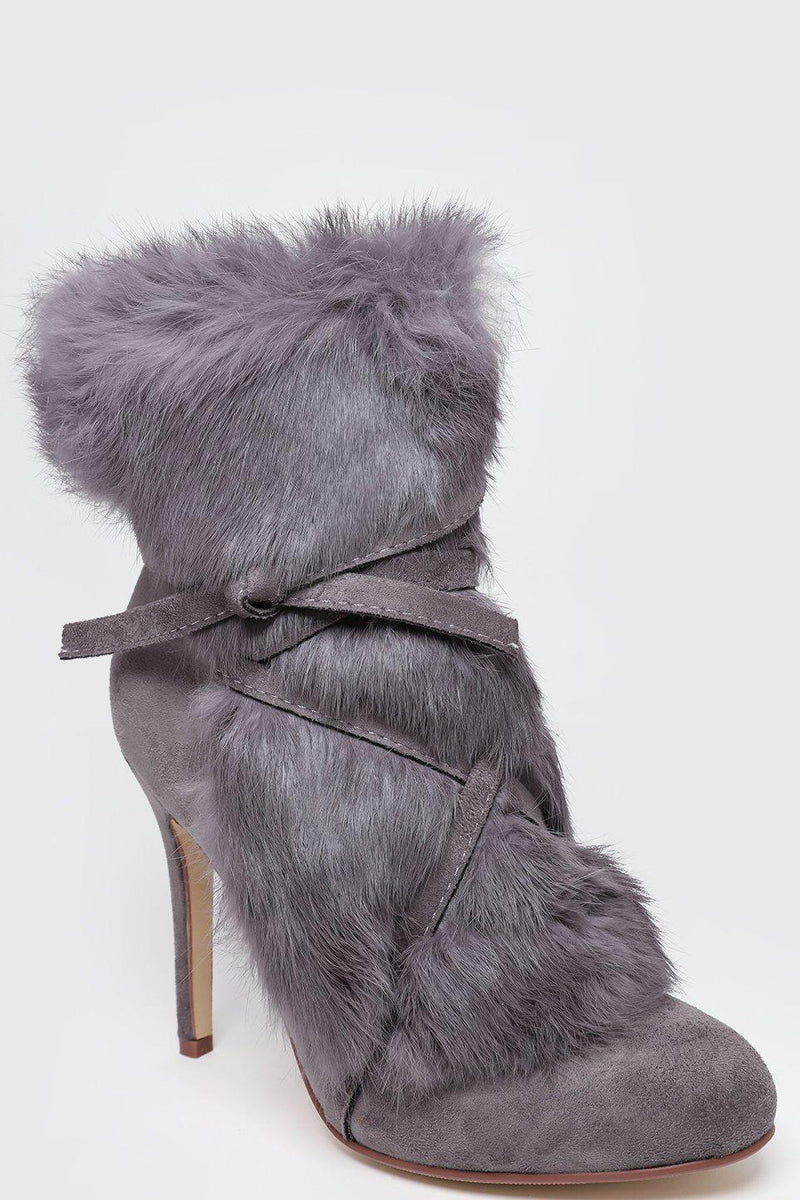 Grey Faux Fur Laced Up Stiletto Ankle Boots-SinglePrice