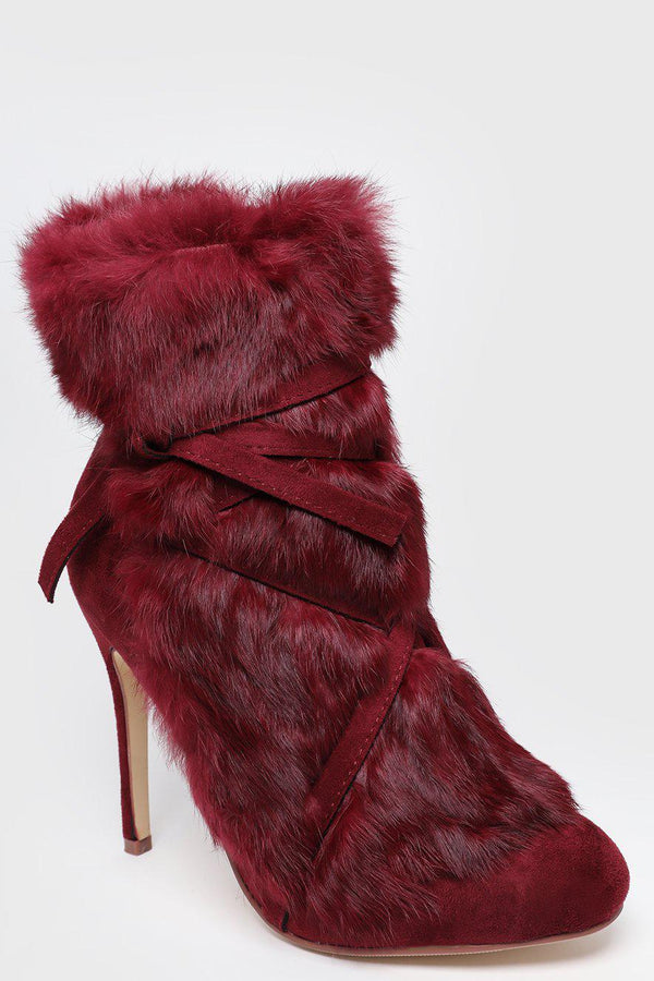 Red Faux Fur Laced Up Stiletto Ankle Boots - SinglePrice