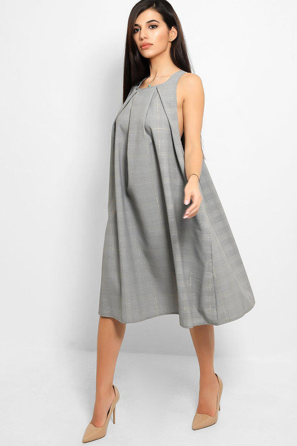 Grey Prince Of Wales Print Pleated Detail Drop Underarm Dress