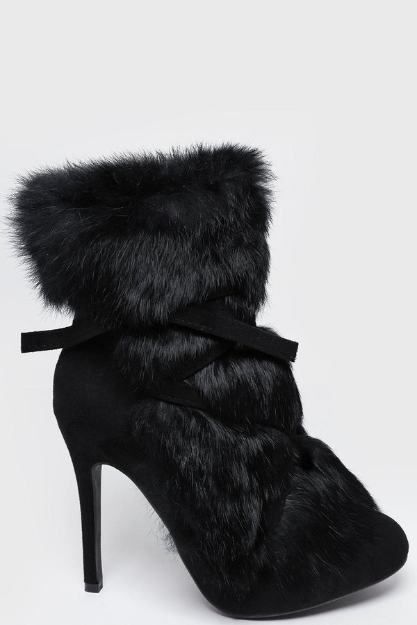 Black Faux Fur Laced Up Stiletto Ankle Boots - SinglePrice