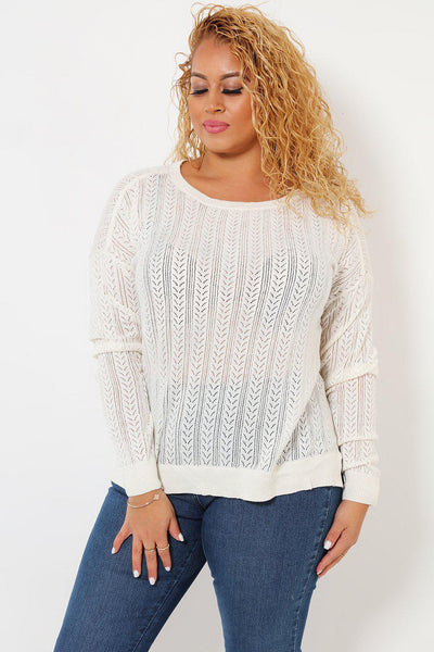 Fine Cable Knit White Jumper-SinglePrice
