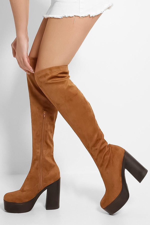 Tan Vegan Suede Chunky Knee High Boots - SinglePrice