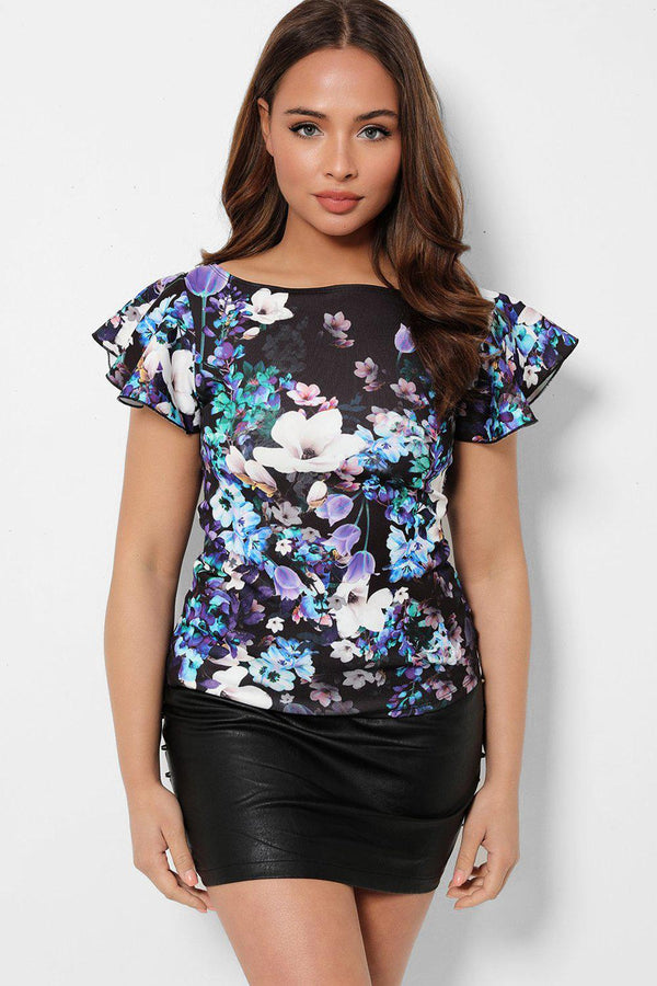 Black Floral Print Wing Sleeves Top-SinglePrice