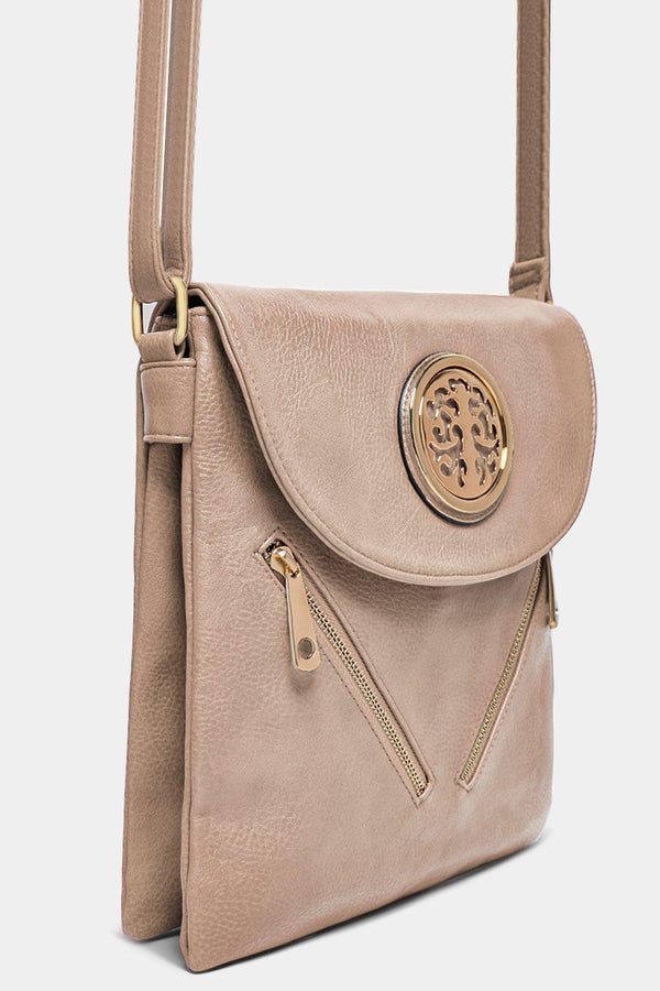 Beige Metal Tree Logo And Zips Detail Tall Messenger Bag - SinglePrice