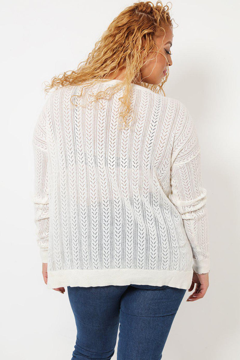 Fine Cable Knit White Jumper - SinglePrice