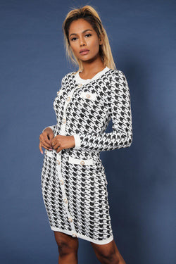 White Dogtooth Pattern Pearl Buttons Knitted Dress - SinglePrice