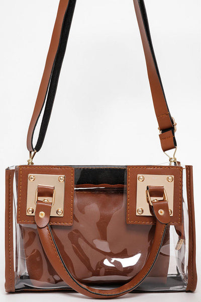 Brown With Gold Details 2-In-1 Transparent Handbag-SinglePrice