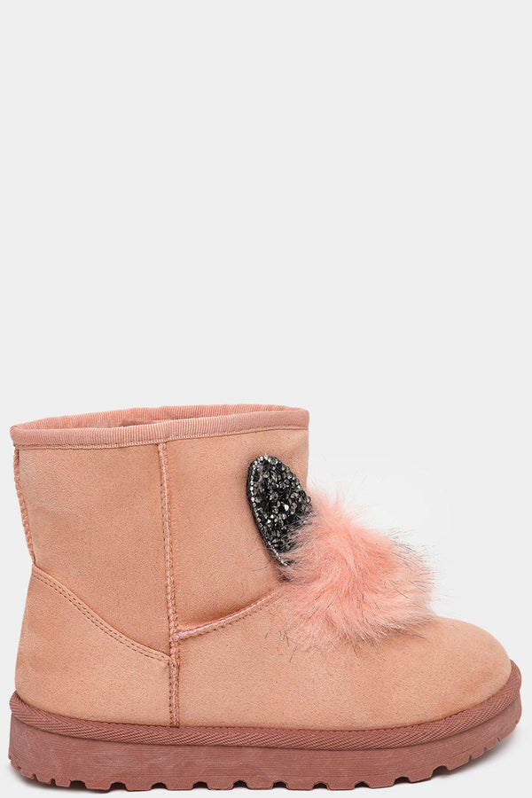 Pink Crystals Embellished Ears And Pom Pom Warm Boots - SinglePrice