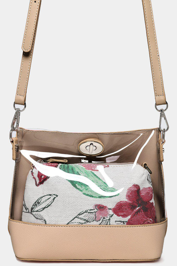 2 In 1 Beige Perspex Front And Mini Floral Shoulder Bags-SinglePrice