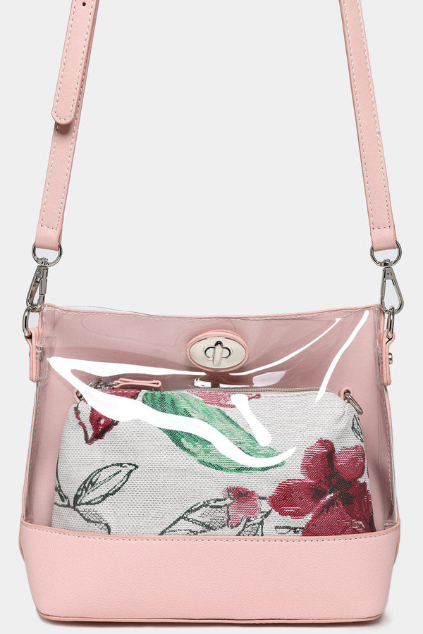 2 In 1 Pink Perspex Front And Mini Floral Shoulder Bags-SinglePrice
