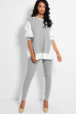 White Shirt Panels Grey Flat Knit Lounge Set - SinglePrice