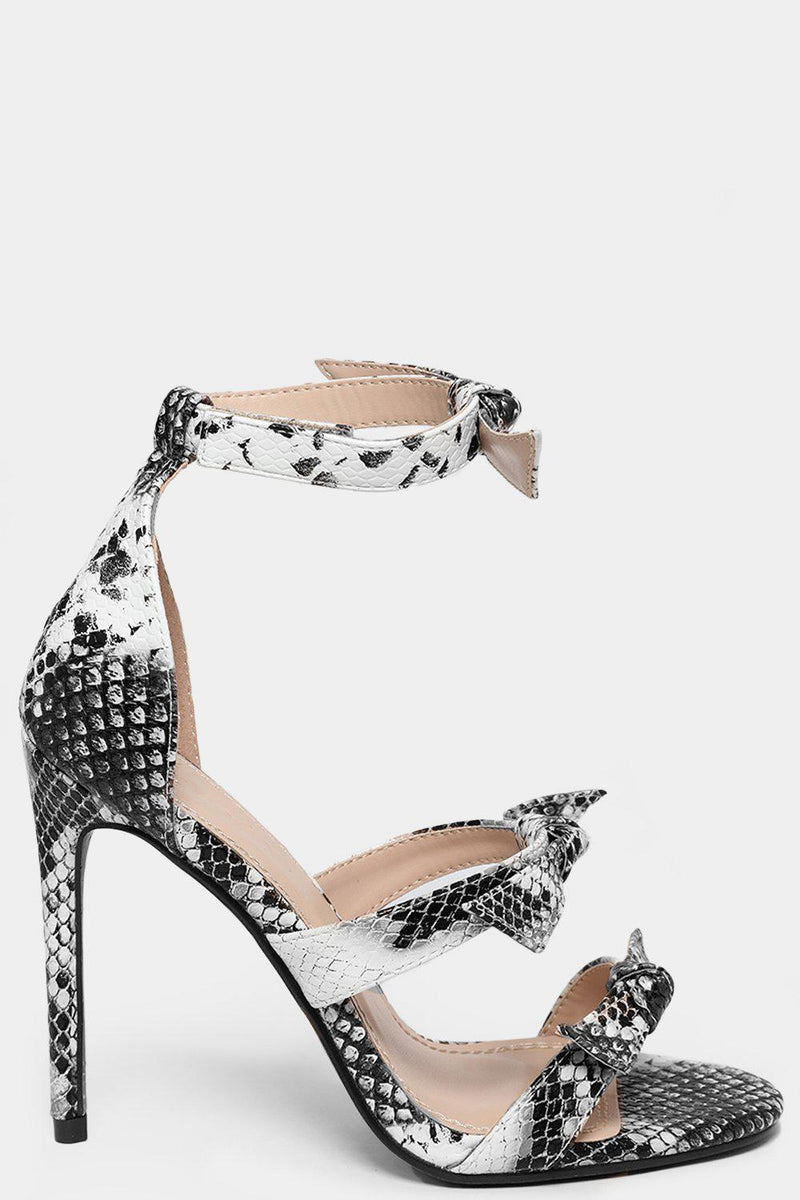 Black Snake Print Bow Detail Barely There High Heels-SinglePrice