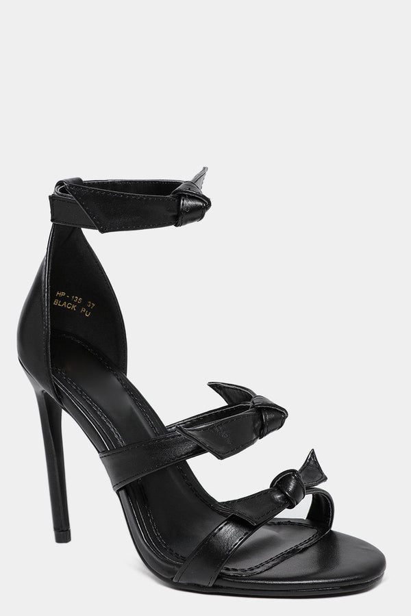 Black Vegan Leather Bow Detail Barely There High Heels-SinglePrice