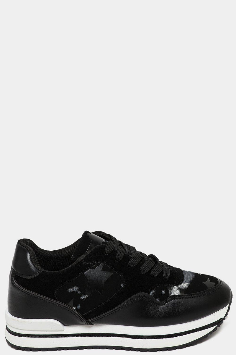 Stars Patches Black Wedge Trainers-SinglePrice