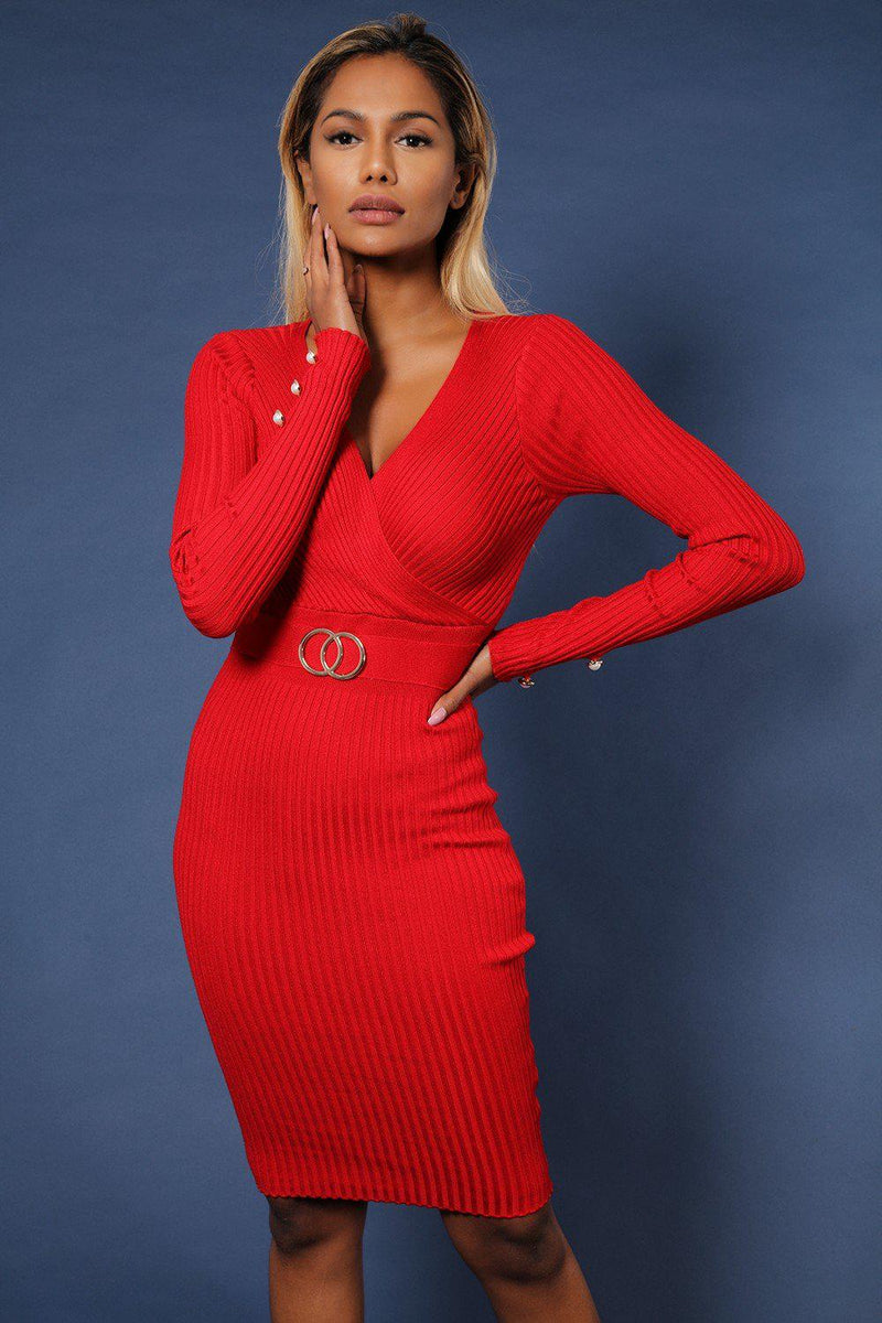 Red Plunge Neck Twin Ring Detail Ribbed Midi Dress - SinglePrice