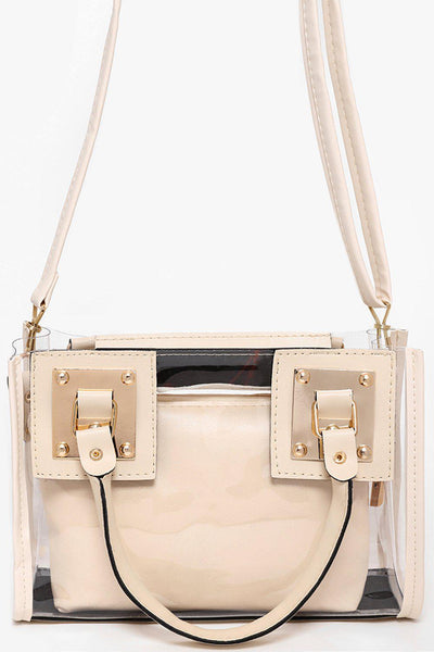 Cream With Gold Details 2-In-1 Transparent Handbag-SinglePrice