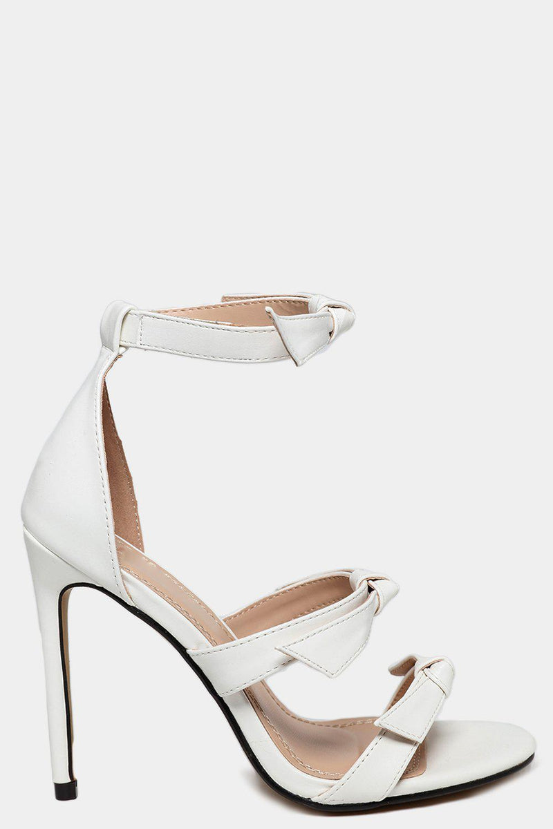 White Vegan Leather Bow Detail Barely There High Heels-SinglePrice