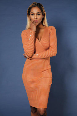 Camel Plunge Neck Twin Ring Detail Ribbed Midi Dress - SinglePrice