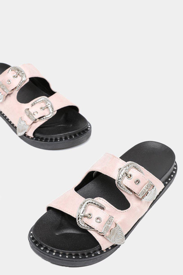 Twin Straps With Buckles Nude Sliders-SinglePrice