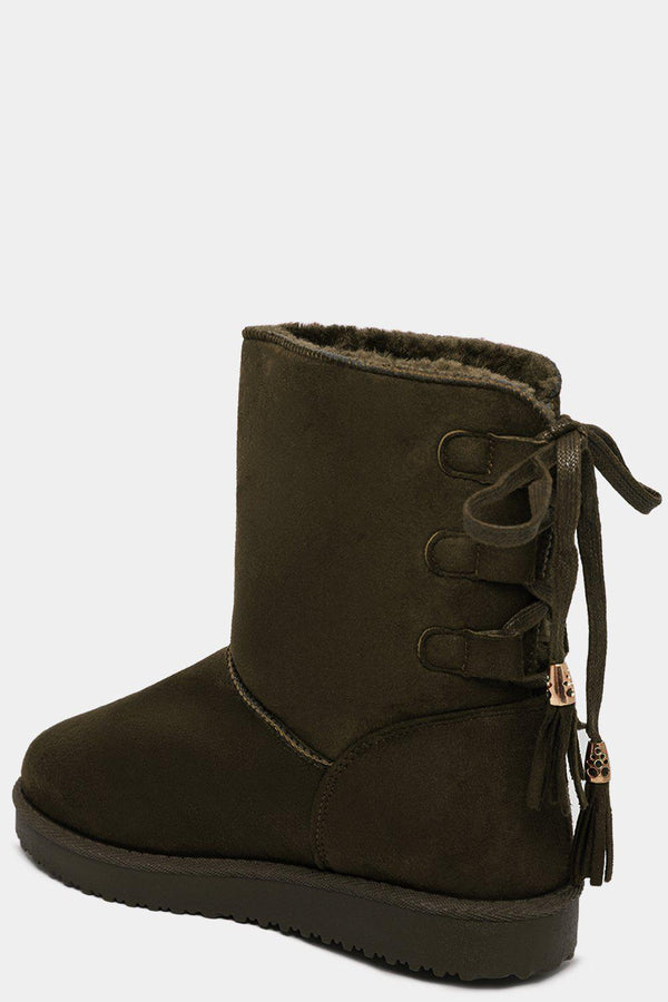Lace Up Back Faux Fur Lined Green Warm Boots - SinglePrice
