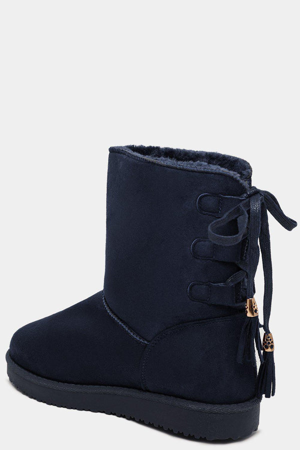 Lace Up Back Faux Fur Lined Navy Warm Boots - SinglePrice