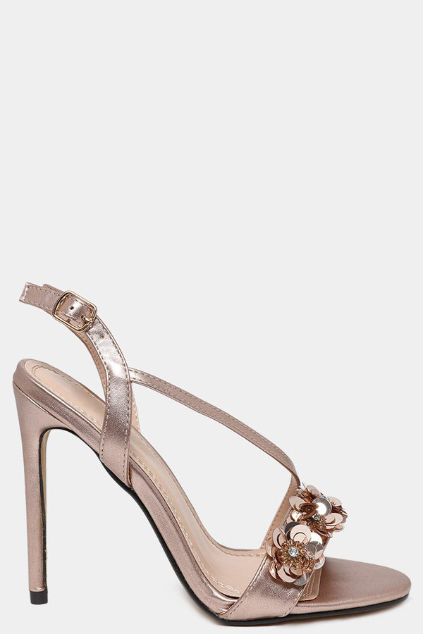 Champagne Sequin Flowers Embellished Barely There Heels-SinglePrice