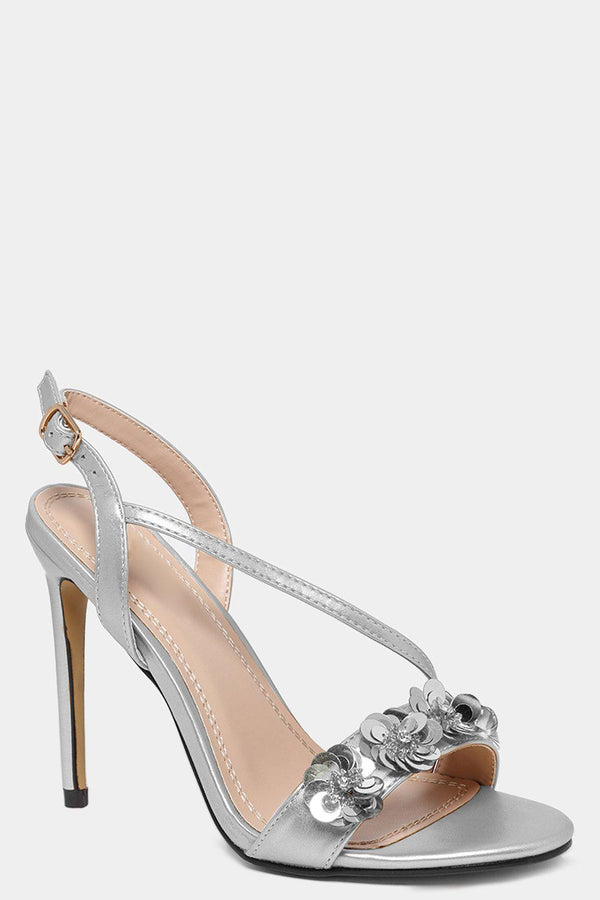 Silver Sequin Flowers Embellished Barely There Heels-SinglePrice