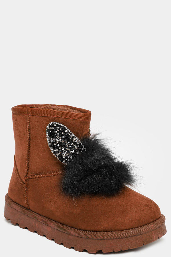Camel Crystals Embellished Ears And Pom Pom Warm Boots - SinglePrice