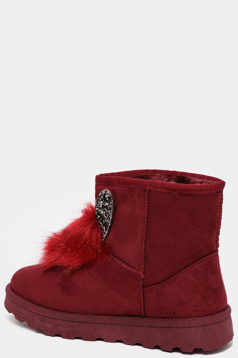 Wine Red Crystals Embellished Ears And Pom Pom Warm Boots - SinglePrice