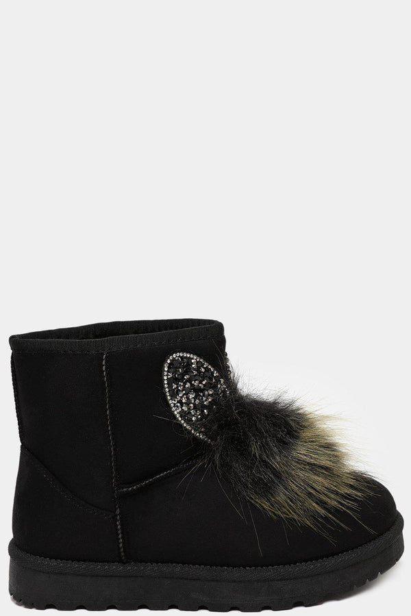 Black Crystals Embellished Ears And Pom Pom Warm Boots - SinglePrice