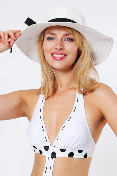 Badge Embellished White Summer Hat-SinglePrice