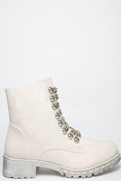 Perforated Vegan Leather Studded Beige Boots-SinglePrice